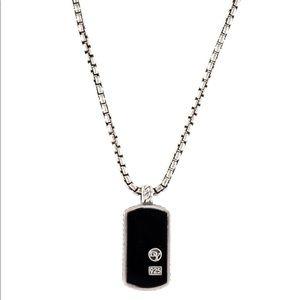 David Yurman Onyx Dog Tag Necklace